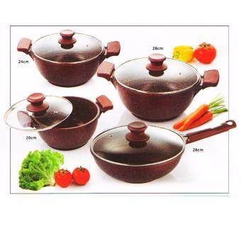 Harga Are Ikan Marble Stone Ruby Color Cookware 8pcs Soup Pot Set
