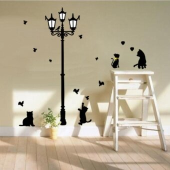 Harga New Hot Naughty Cats, Birds and Street Light Lamp Post Wall Stickers Home Decoation Famever