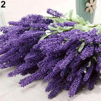 Harga Broadfashion 12 Heads Bouquet Artificial Lavender Fake Garden Plant Flower DIY Home Decor (Dark Purple)