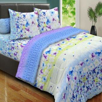 Harga Essina 100% Cotton 500TC Fitted Bed sheet set - PETUNIA