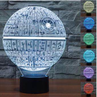 Harga 3D Star-Wars LED Night 7 Color Change Touch Switch Table Desk Lamp Light