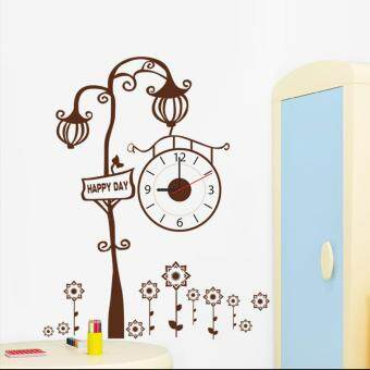 Harga Yika DIY Brown Tree Wall Clock Creative Watch Sticker Home Room Decor Hours Decal