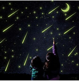 Harga 25X21cm Meteor shower Wall Stickers Romantic Sky Star Moon Wall Decals Luminous stickers fluorescence Kids Room Bedroom Nursery