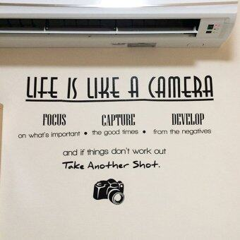 Harga ZooYoo life is like a camera inspirational quotes wall stickers living room decoration adesivos de paredes letters home decals mural art 2010.