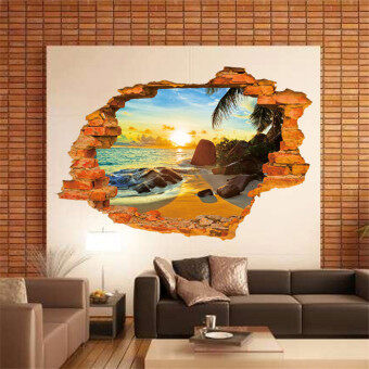 Harga GAKTAI Romantic Beach Sunshine Hole Views Wall Sticker Removable DIY Home Art Mural Baby Gifts