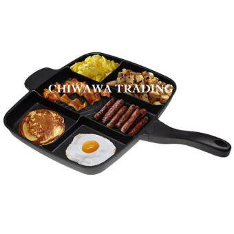 (IMPORT) 100% Good Quality 5 in 1 Grill Pan Multi-Section pan Master Non-Stick Frying Pan Coating Hob Divided Grill/Fry/Oven Pan / Meal Skillet 5 in 1 (As Seen On TV)