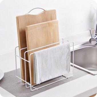 Iron Cutting Board rack kitchen floor rag rack shelving rack multi-function cutting board rack drain rack towel storage rack