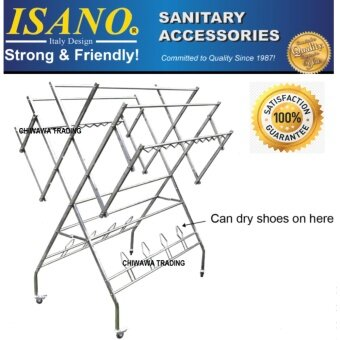 ISANO 152.5 x 120 x 90cm Premium W Type 100% Stainless Steel Solid Clothes Drying Rack with Shoe Hook 1355DR High Quality 100kg GUARANTEE NOT RUSTY