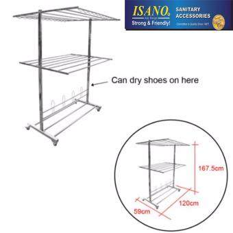 ISANO Premium Double Layer 100% Stainless Steel Solid Cloth Hanger Clothes Drying Rack Wheels 1344DR