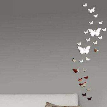 Harga JinGle 12X Butterflies Mirror Wall Sticker For Living Room BedroomDecal Art Home Decor