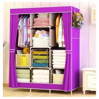 King Sized Waterproof Multifunctional Wardrobe - Curtain Design Purple