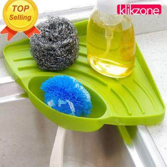 Klikzone Portable Kitchen Sink Corner Storage Rack Sponge Holder Wall Mounted Tool Green