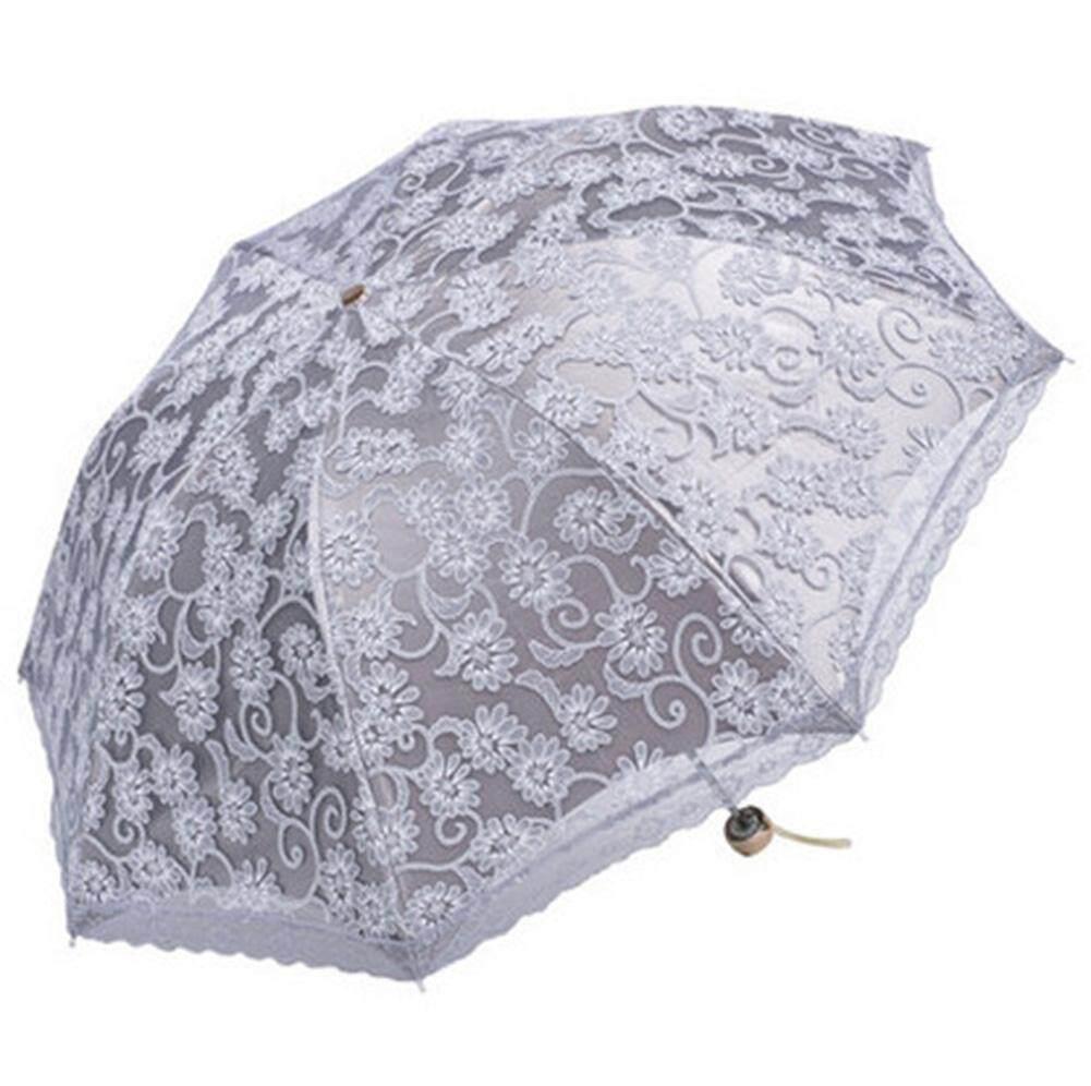 kobwa Compact Lace Wedding Parasol Folding Travel Sun Umbrella UV Block (Gray) Malaysia