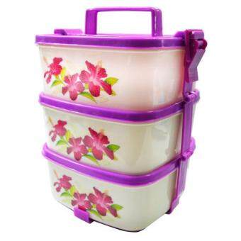 Harga Lava(TM) 3 Layer Plastic Stackable Lunch Box Tiffin Carrier - Hibiscus