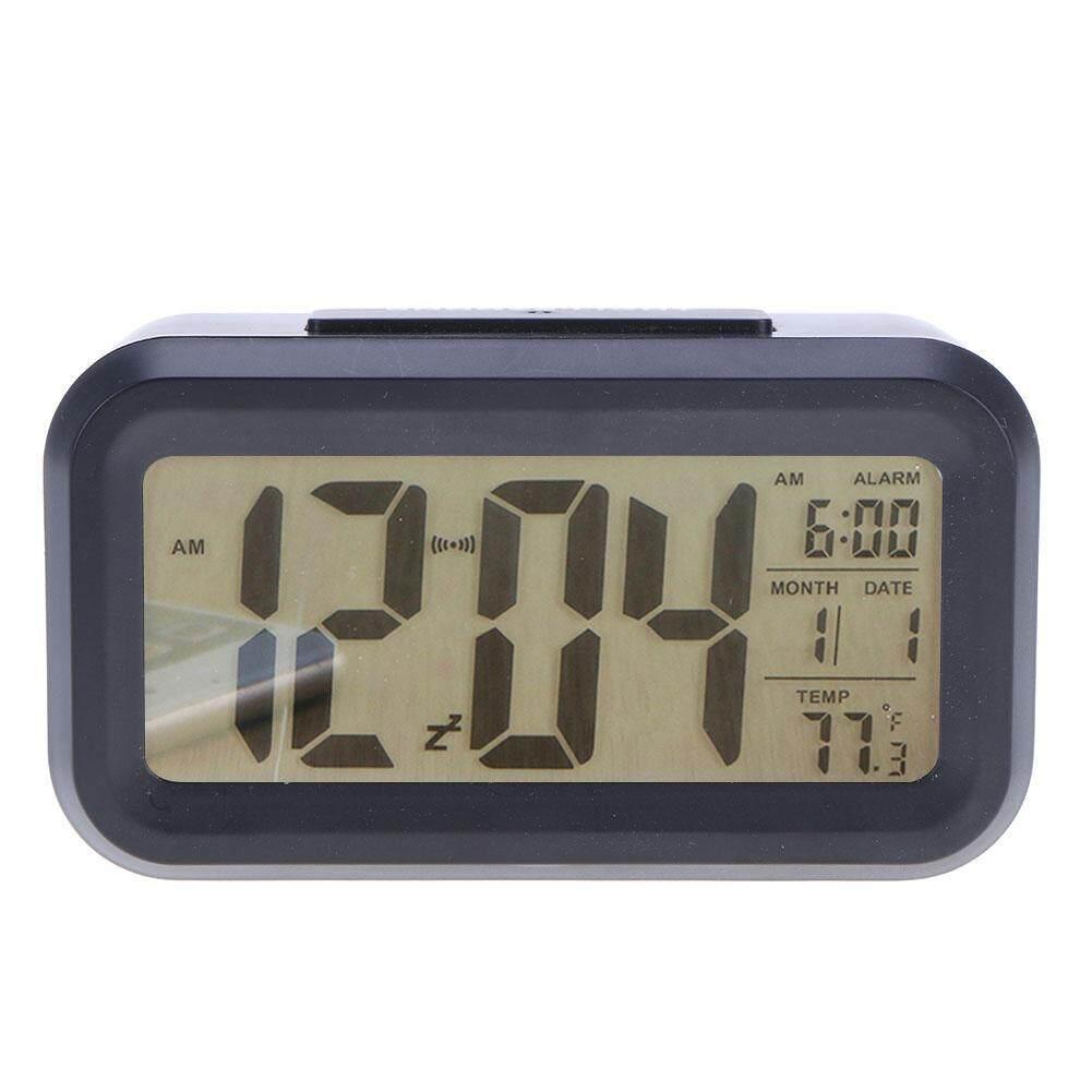 Beautiy Kota LED Digital Elektronik Alarm Jam Bisu Bercahaya Jam Samping Tempat Tidur (Hitam)-Internasional