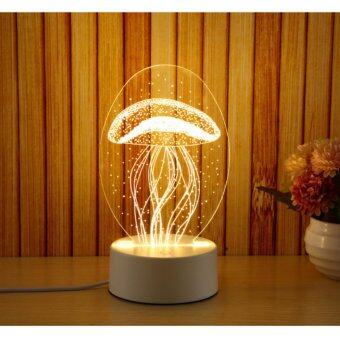 Harga Led night light 3D small table lamp bedside lamp plugging baby light baby bedroom sleep light creative birthday gift jellyfish lamp