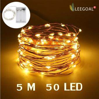 leegoal LED Fairy String Lights Indoor And Outdoor 5m 50 LEDs Copper Wire Light Battery Powered For Christmas Bedroom Garden Party Wedding Decoration Warm White