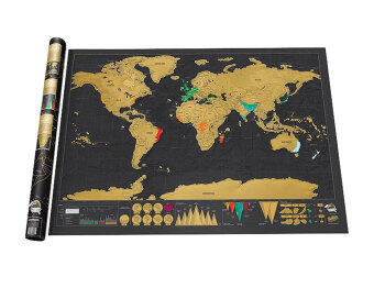 Leegoal Novelty World Map Educational Scratch Off Map Poster TravelMap Wall Map - Black