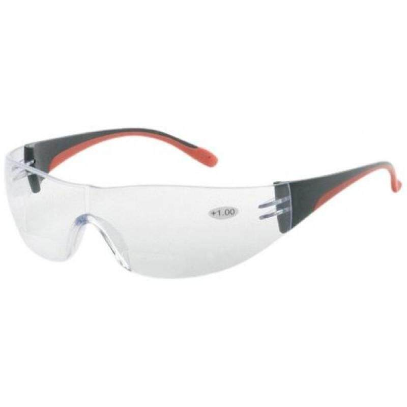 Liberty ProVizGard Fuse Reader Protective Eyewear, Bifocal +2 Clear Lens, Black/Red Frame (Case of 12 Pairs)