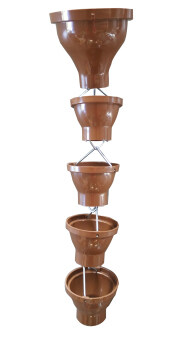 LS 9' GUTTER CUP RAIN CHAINS - 2038 BROWN COLOUR GARDEN DECORATION