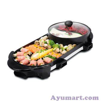 Luxury 2 in 1 hot pot and BBQ grill Smokeless Korean Hot-pot DesignMulti-function Electric Oven BBQ Non-stick