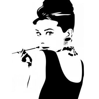 LZ Audrey Hepburn Smoking Pipe Sofa Bed Room Wall Sticker(Black) Part 73