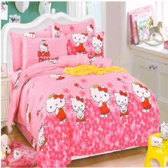 Matahari Fitted Bedsheet Set 100% Cotton -HELLO KITTY(HOMEMADE)