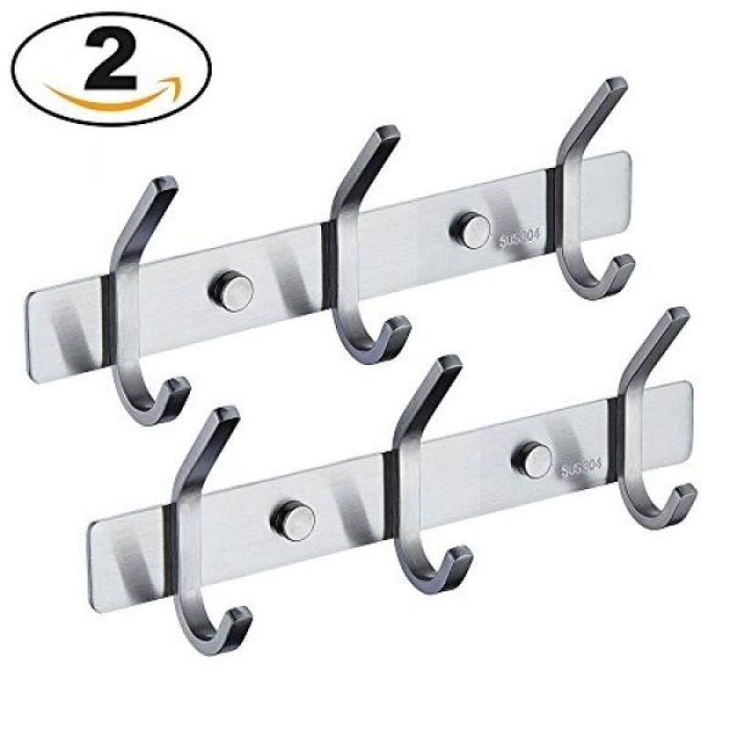 Mellewell Utility Hook Rails Storage Racks 8.7-Inch with 3 Heavy Duty Hooks, Wall Coat Robe Towel Pan Hook Hanger Bathroom Kitchen Organizer, Brushed Stainless Steel, 2 Pack, 08002HK03