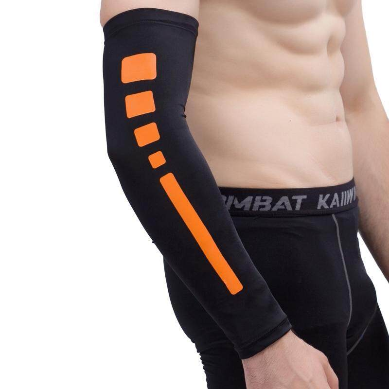 Men Outdoor Sports Elastic Breathable Anti-skid Elbow Arm Sleeve UV Protective Gear, Size: L (Black)