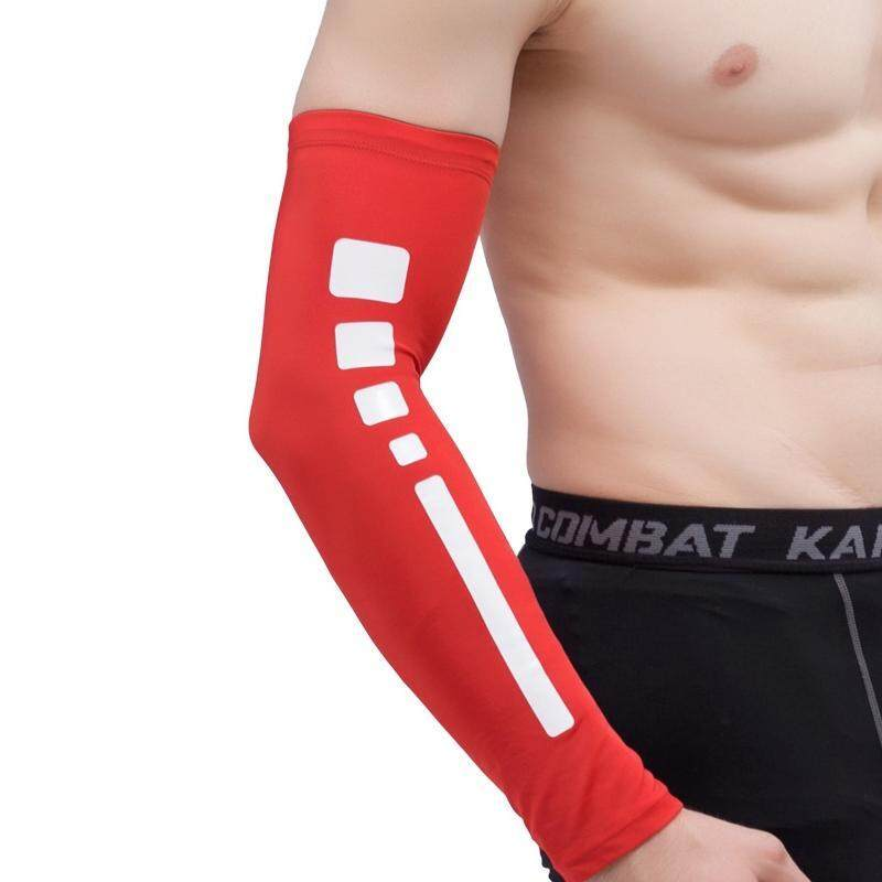 Men Outdoor Sports Elastic Breathable Anti-skid Elbow Arm Sleeve UV Protective Gear, Size: M (Red)