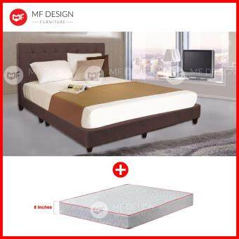 Harga MF DESIGN LOUIS FABRIC QUEEN Divan Bed Frame (COCOA) WITH HIGH QUALITY DAMASK 8 INCH QUEEN SIZE SPRING MATTRESS (DREAMPLUS)