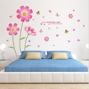 Mimosifolia 3D Pink Bloom Flowers Wall Sticker Decal Wallpaper PVC Mural Art House Decoration Home Picture Wall Paper for Adult Kids 60X90
