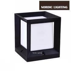 Buy Modern Black Cube Outdoor Pillar Light Nordic Lighting Weather Proof Gate Lamp(ND-G2402-BK) Malaysia