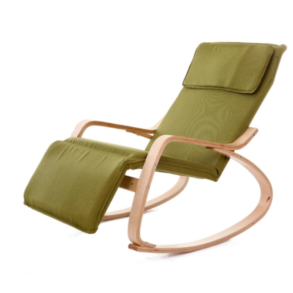 Modern Furniture Folding Wooden Rocking Chair Recliner With Foot Rest Design With Fabric Cushion Living Room Furniture Adult Lounge Chair (Green)
