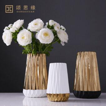 Modern minimalist gold home living room ceramic vase - 2