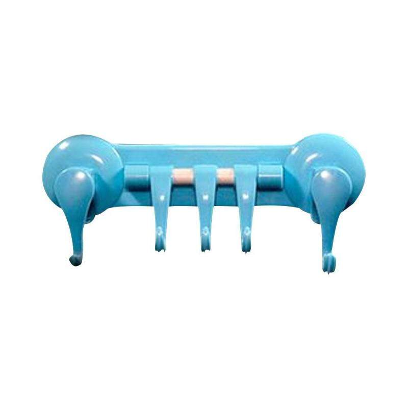 moob Strong Vacuum Suction Cup 5 Linked Hooks Plastic Removable Towel Hook Holder For Chicken Bathroom ,Blue
