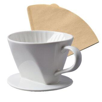 Moonbuck Ceramic Coffee Filter Porcelain Hand-poured Coffee Filter+ FREE 20 coffee paper filter & Coffee Powder