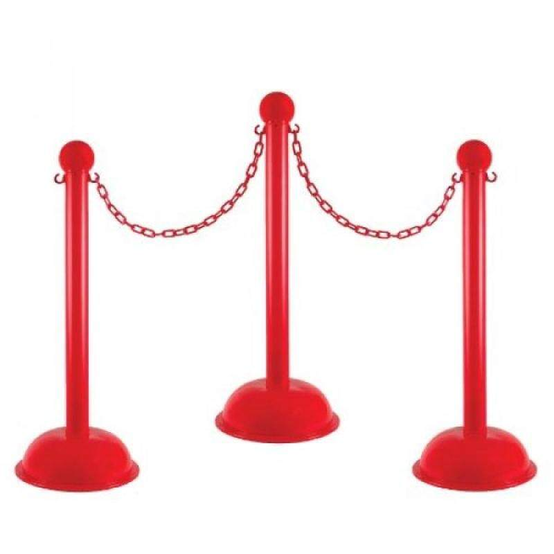 Mr. Chain 71305-4 Red Plastic Stanchion Kit with 30 of 2 HD chain and C-Hooks, Pack of 4