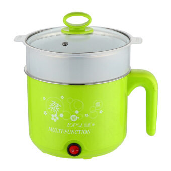 Harga Multi-function Stainless Steel Electric Cooker, Electric Cooker,Electric Hot Pot- Green with Plastic Steamer