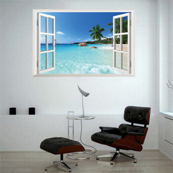 Harga Mural Wallpaper Huge Removable Beach Sea 3D Window View Scenery Wall Sticker Decor Decals inall