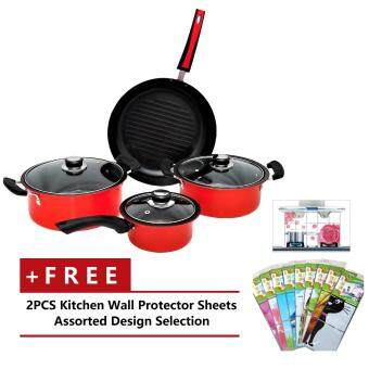 NAVITASS Non-Stick Coating Cookware 7-pieces Set (Red)