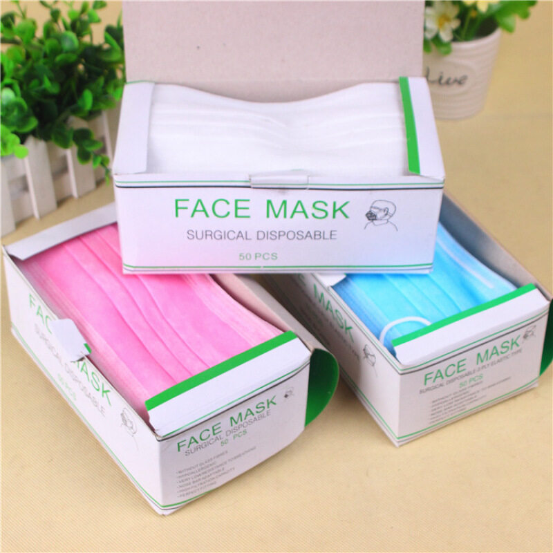 Buy New 50 Pcs Elastic Ear Loop Disposable Medical Dustproof Surgical Face Mouth Masks New 3-Ply Hot Sale Malaysia