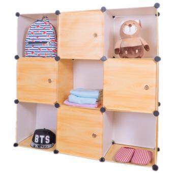 Harga [NEW DESIGN] Stackable Cube Storage (9 Cubes) - Light Brown