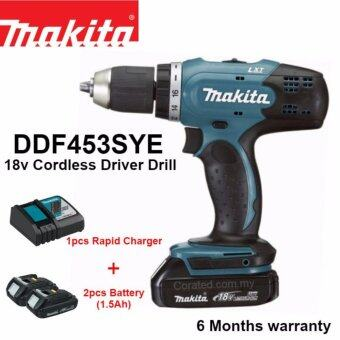 [New] Makita DDF453SYE 18V 13mm Cordless Driver Drill c/w 2pc 1.5ah 18V Battery & Charger