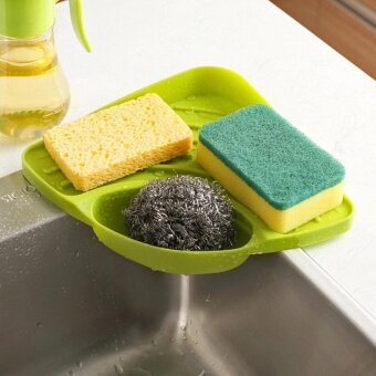 New Portable Kitchen Sink Corner Storage Rack Sponge Holder WallMounted Tool Green - 2