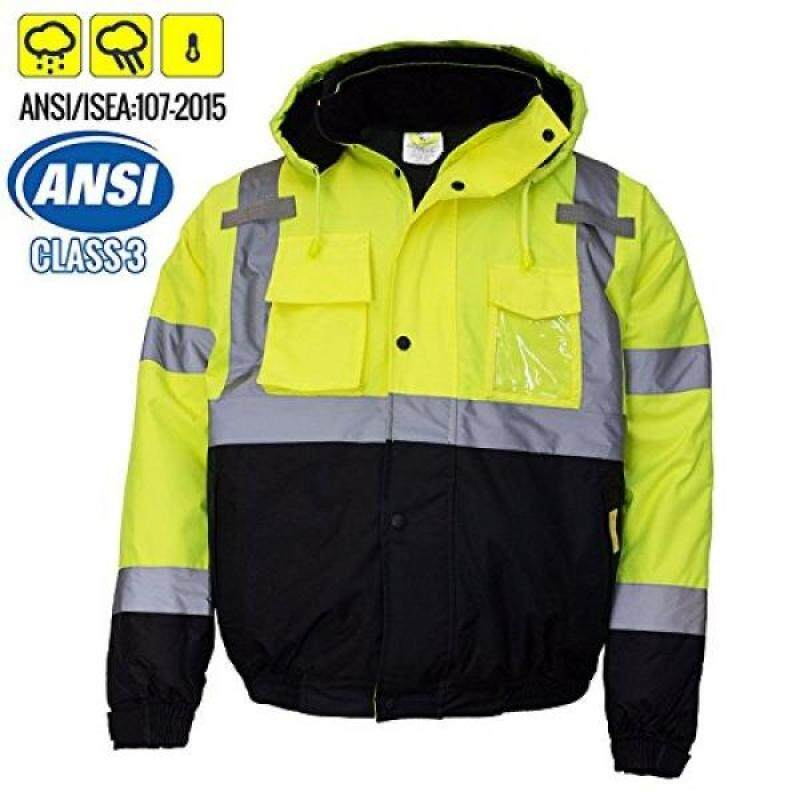 New York Hi-Viz Workwear WJ9012-L Mens ANSI Class 3 High Visibility Bomber Safety Jacket, Waterproof (Large, Lime)