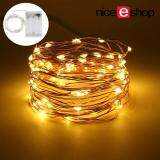 niceEshop LED Fairy String Lights Indoor And Outdoor 5m 50 LEDs Copper Wire Light Battery Powered For Christmas Bedroom Garden Party Wedding Decoration Warm White