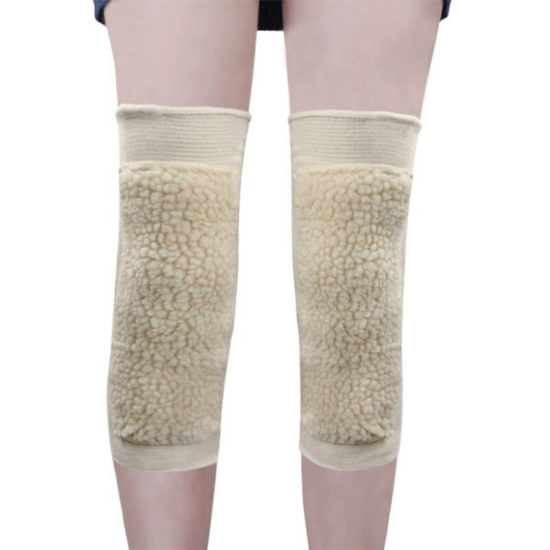 Buy One Pair Thermal Knee Warmer Sleeve Unisex Goat Wool Pad Knee Brace Support Protector Legging Stockings - Pain Relief, Warming Knee, Non-slip Beige Color Malaysia