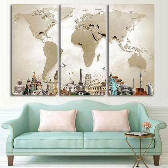Oscar Store Colorful World Map Canvas Tower Oil Painting Print - World map canvas