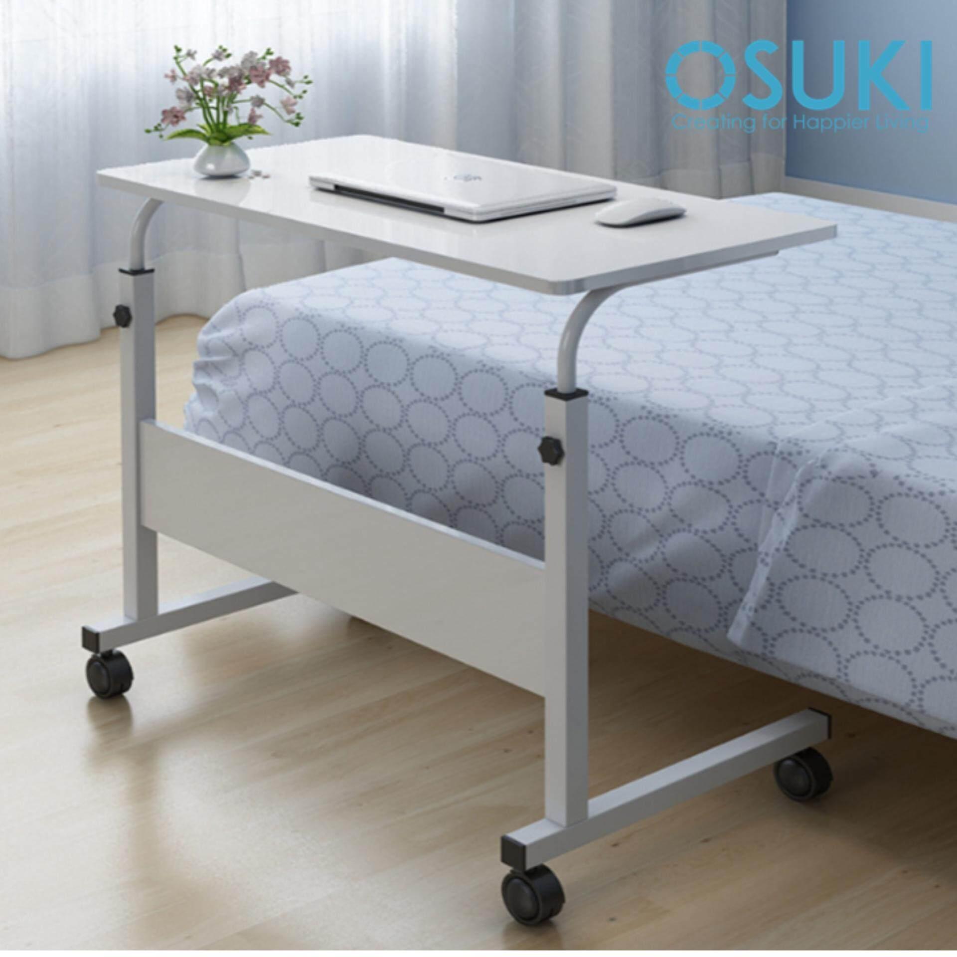 Osuki Height Adjule Table 60x40cm With Wheels Laptop Desk White Malaysia